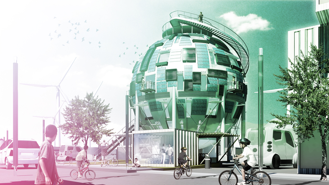 Street View- Silo Home + Charging Stations + Bike Storge...